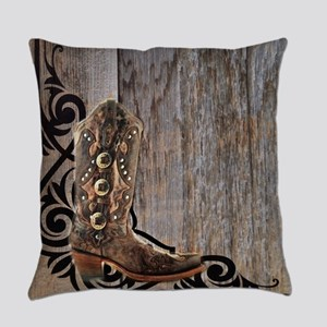 cowboy boots barnwood Everyday Pillow