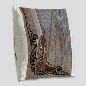 cowboy boots barnwood Burlap Throw Pillow