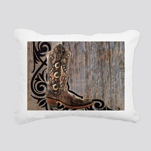 cowboy boots barnwood Rectangular Canvas Pillow