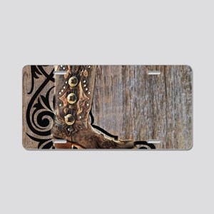 cowboy boots barnwood Aluminum License Plate