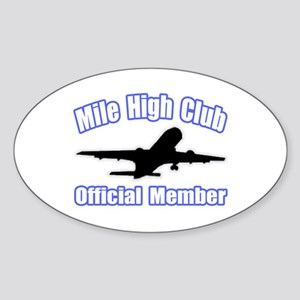 """Mile High Club"" Oval Sticker"