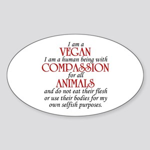 I Am A Vegan Oval Sticker