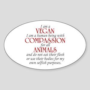 I Am A Vegan Oval Sticker