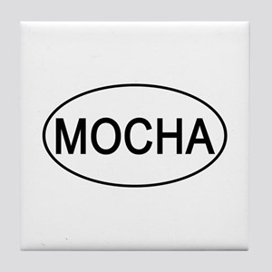 Mocha Euro Oval white Tile Coaster