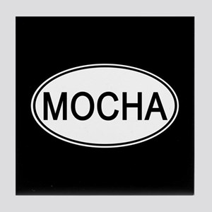 Mocha Euro Oval black Tile Coaster