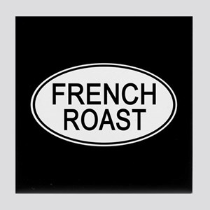 French Roast Euro Oval black Tile Coaster