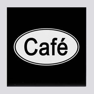 Cafe Euro Oval black Tile Coaster
