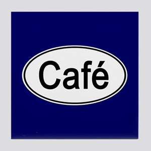 Cafe Euro Oval blue Tile Coaster