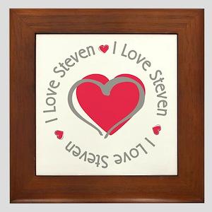 I Love Heart Steven Framed Tile