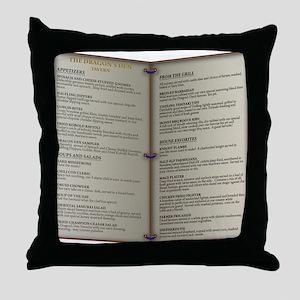 Dragon's Den Tavern Menu Throw Pillow