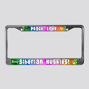 Hippie Siberian Husky License Plate Frame