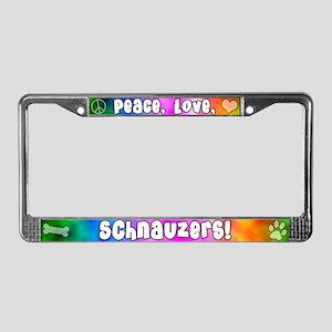 Hippie Schnauzer License Plate Frame