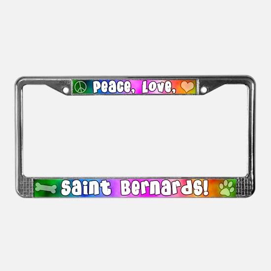 Hippie Saint Bernard License Plate Frame