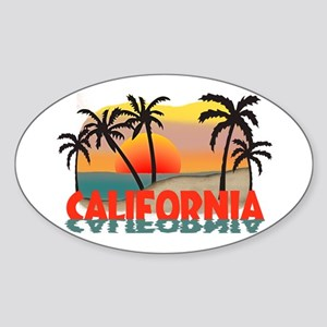 California Sunset Souvenir Oval Sticker