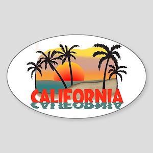 California Sunset Souvenir Oval Sticker