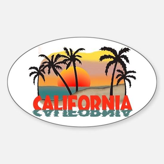 California Sunset Souvenir Oval Decal