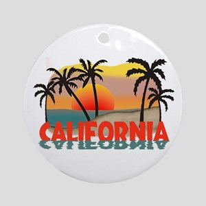 California Sunset Souvenir Ornament (Round)