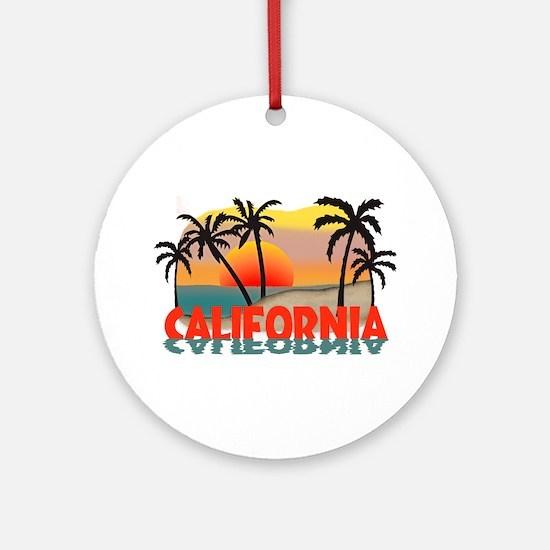 California Sunset Souvenir Ornament (Round)