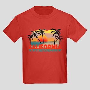 California Sunset Souvenir Kids Dark T-Shirt