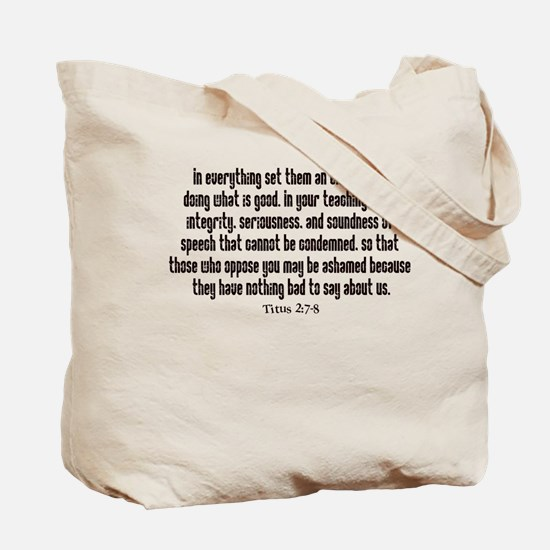 Integrity Bible verse Tote Bag