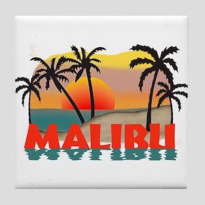Malibu Beach California Souvenir Tile Coaster