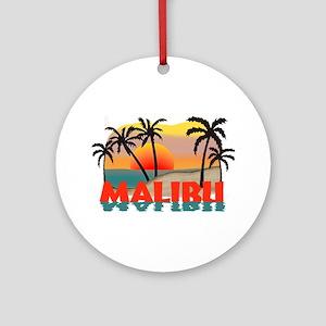 Malibu Beach California Souvenir Ornament (Round)
