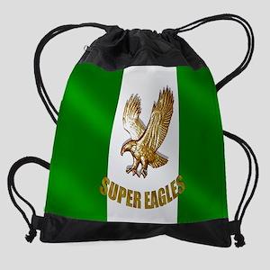 Nigerian Eagle Flag Drawstring Bag