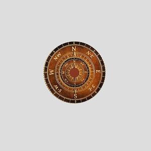 Compass Rose in Brown Mini Button