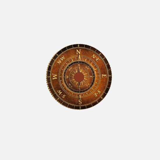 Compass Rose in Brown Mini Button