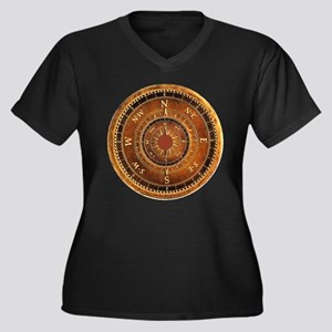 Compass Rose in Brown Women's Plus Size V-Neck Dar
