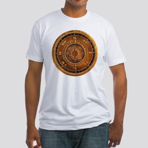 Compass Rose in Brown Fitted T-Shirt