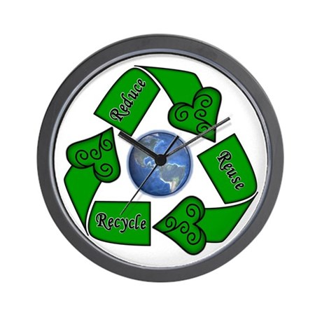 Reduce Reuse Recycle - Earth Wall Clock