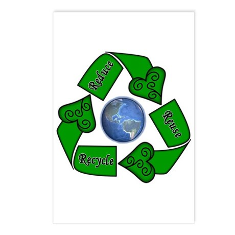 Reduce Reuse Recycle - Earth Postcards (Package of