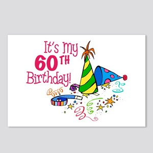 It's My 60th Birthday (Party Hats) Postcards (Pack