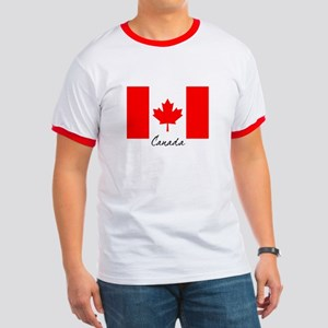 Canadian Flag Ringer T-shirt
