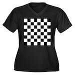 Chess Checke Women's Plus Size V-Neck Dark T-Shirt