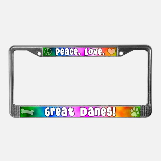 Hippie Great Dane License Plate Frame