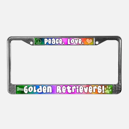 Hippie Golden Retriever License Plate Frame