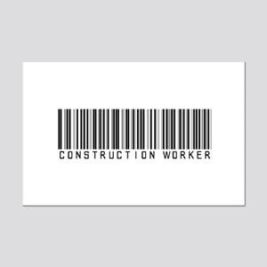 Construction Worker Barcode Mini Poster Print
