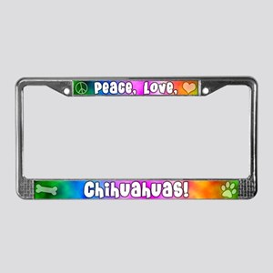Hippie Chihuahua License Plate Frame