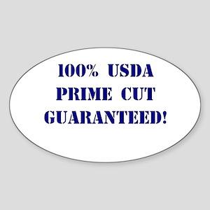 100% USDA Primr Cut Oval Sticker