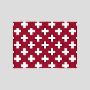 Crimson Red Plus Sign Pattern 5'x7'Area Rug