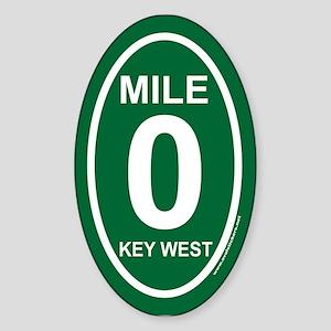 Key West Mile Marker Zero Green Euro Oval Sticker