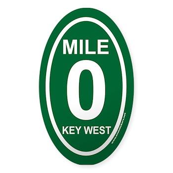 Key west mile marker zero green euro oval decal hemingways travels oval bumper stickers by ovalstickers net