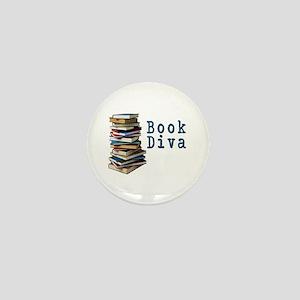 Book Diva (w/books) Mini Button