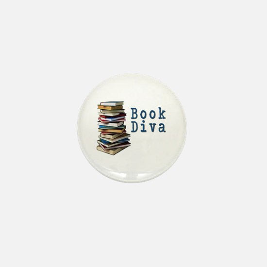 Book Diva (w/books) Mini Button