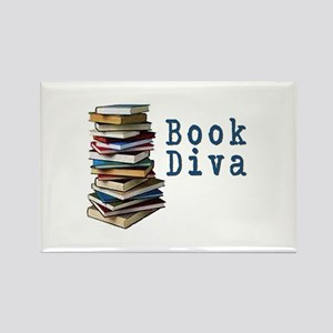 Book Diva (w/books) Rectangle Magnet