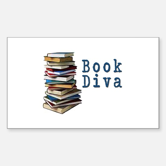 Book Diva (w/books) Rectangle Decal