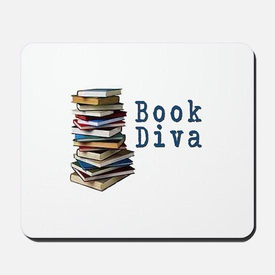 Book Diva (w/books) Mousepad