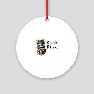 Book Diva (w/books) Ornament (Round)